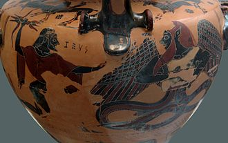 Typhon - Zeus aiming his thunderbolt at a winged and snake-footed Typhon. Chalcidian black-figured hydria (c. 540–530 BC), Staatliche Antikensammlungen (Inv. 596).