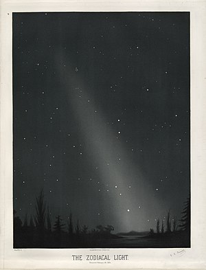 A Trouvelot lithograph depicting zodiacal light