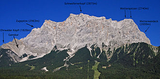 Wetterstein - The Zugspitze Group from the west with summits around the plateau