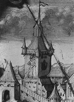 Zytglogge - The Zytglogge as shown on a 1542 glass painting.