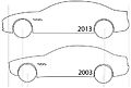 """ 13 - ITALY - Maserati Quattroporte Silhouette automobile technical drawing size difference.jpg"