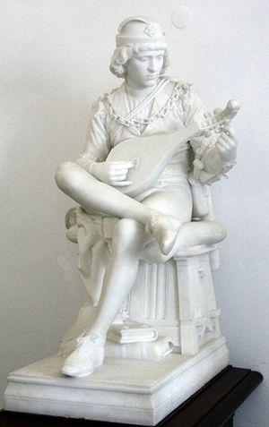Bernardim Ribeiro - Bernardim Ribeiro, marble sculpture by António Alberto Nunes.