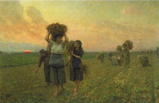 'The Last Gleanings', oil on canvas painting by Jules-Adolphe Breton, 1895, Huntington Library