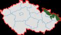 České Slezsko po roce 1920 na mapě Česka.png