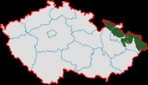 Czech Silesia - Image: České Slezsko po roce 1920 na mapě Česka