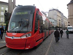 Public transport in Bratislava - A typical red tram in Bratislava
