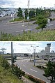 北海道道63号函館空港線・起点(2枚合成、上・函館空港国内線ターミナル側から、下・終点側から).jpg