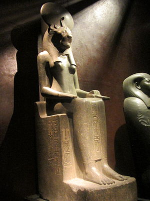 Eye of Ra - Sekhmet as a woman with the head of a lioness, wearing the sun disk and uraeus