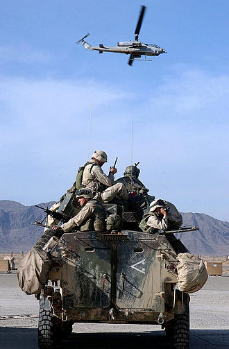 Tank desant - US Marines ride on top of an LAV-25 IFV in December 2001, during the War in Afghanistan (2001–present).