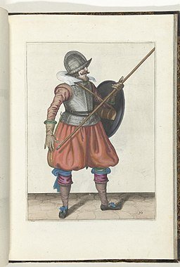 030 (pikeman, color) Book illustrations of Nassausche wapen-handelinge, van schilt, spies, rappier, ende targe