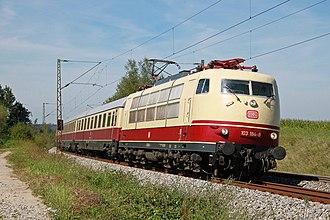 Blauer Enzian - DB Class 103 on the Munich–Rosenheim railway