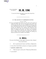 116th United States Congress H. R. 0000196 (1st session) - Democracy Restoration Act of 2019.pdf