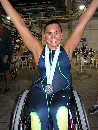 Marayke Jonkers - Marayke Jonkers with her silver medal from the SM4 150 m individual medley at the 2002 IPC World Swimming Championships in Mar del Plata, Argentina