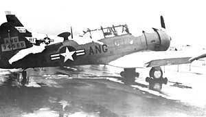 144th Airlift Squadron -  North American AT-6D-NT Texan 41-34555. This was the first aircraft supplied to the Alaska Air National Guard