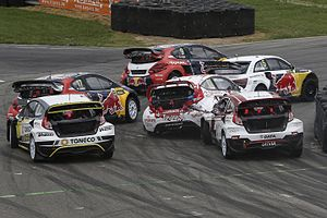 2016 World RX of Belgium - The field files into the first corner in the 1st WRX Semi-Final