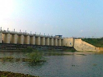 Chembarambakkam Lake - Image: 16 lock view of chembarambakkam tank