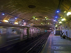 National Register of Historic Places listings in Manhattan above 110th Street - Image: 168th Street subway platform