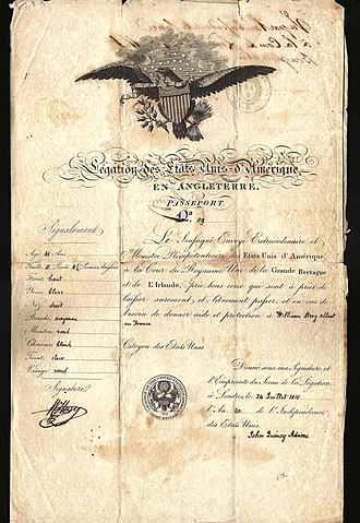 John Quincy Adams - 1815 US passport issued by John Quincy Adams at London
