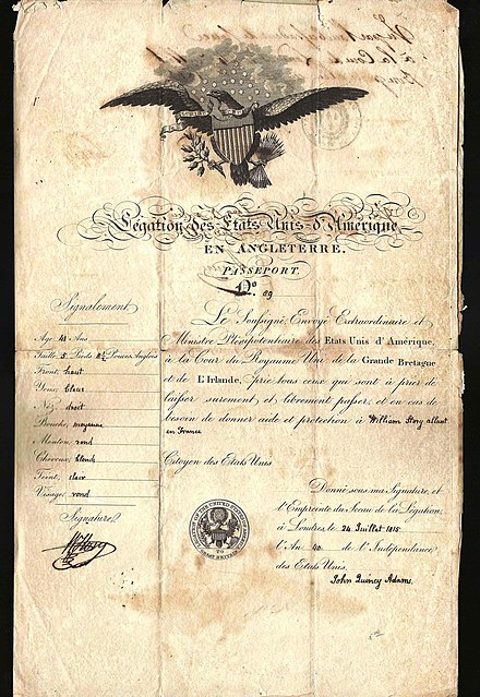 1815 US passport issued by John Quincy Adams at London 1815 US passport - LONDON.jpg