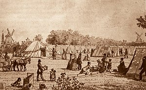 1853 in Denmark - A tent camp outside the Western City Gate in Copenhagen during the 1853 cholera outbreak
