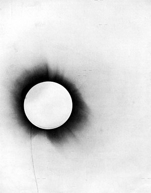 A disproof of Euclidean geometry as a description of physical space. In a 1919 test of the general theory of relativity, stars (marked with short horizontal lines) were photographed during a solar eclipse. The rays of starlight were bent by the Sun's gravity on their way to the earth. This is interpreted as evidence in favor of Einstein's prediction that gravity would cause deviations from Euclidean geometry.