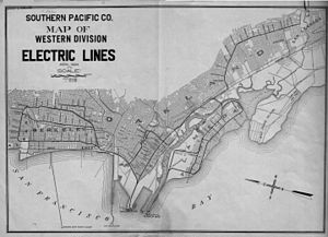 East Bay Electric Lines - 1927 map of the East Bay Electric Lines near their full extent