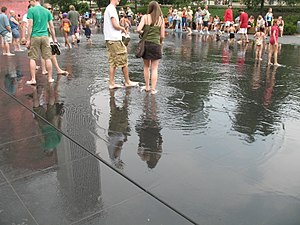 Crown Fountain - The drainage system for the water shooting into the reflecting pool uses end-to-end drainage slits in lieu of central drains.