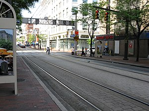 Howard Street (Baltimore) - Light rail lines along North Howard Street at West Lexington Street