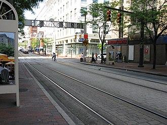 Howard Street (Baltimore) - Light rail lines along North Howard Street at West Lexington Street