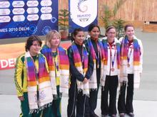 commonwealth games medalists of the 10 metre air pistol pairs women at the 2010 commonwealth games in delhi from the left dina aspandiyarova pamela mckenzie heena sidhu