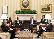 François Hollande con Barack Obama in un incontro bilaterale USA-Francia