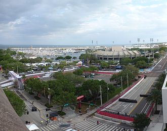 The Grand Prix of St. Petersburg with the then-named Progress Energy Field in 2012 2012 Honda Grand Prix of St. Petersburg Progress Energy Corners.jpg