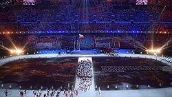 Зимние Олимпийские игры Википедия Выход сборной России на церемонии открытия Основная статья Церемония открытия зимних Олимпийских игр 2014