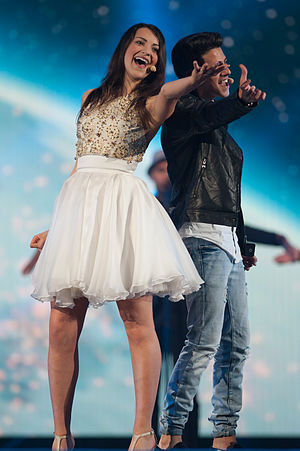 San Marino in the Eurovision Song Contest 2015 - Anita Simoncini and Michele Perniola at a dress rehearsal for the second semi-final