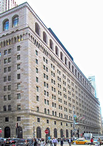 Federal Reserve Bank of New York Building - Image: 2015 Federal Reserve Bank of New York from west