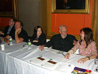 Al Jaffee - Jaffee at the Comic New York symposium at Columbia University's Low Library on March 24, 2012. Seated from left to right are Danny Fingeroth, Dean Haspiel, Miss Lasko-Gross, Jaffee and Tracy White.