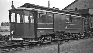 Grimsby and Immingham Electric Railway - Ex-Gateshead car No 17 at Pyewipe, built 1928, was rebuilt by British Railways as a well-equipped repair car, and renumbered 320224. The line's tower wagon stands behind it.
