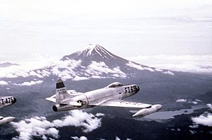 35th Fighter Squadron - F-80C 49-696 Near Mt Fuji Japan 1950. Aircraft now in National Museum of the Air Force, Wright-Patterson AFB, Dayton Ohio