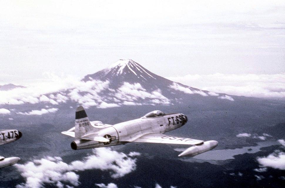 35th Fighter Squadron F-80C 49-696 Near Mt Fuji Japan 1950