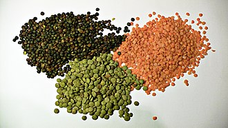 Dal - Lentils are a staple ingredient in South Asian cuisine. Clockwise from upper right: split red lentils, common green whole lentils, and Le Puy lentils both with their outer coats visible