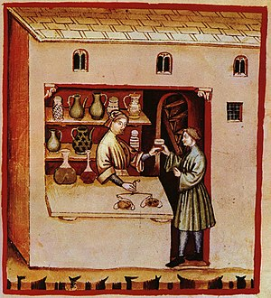 History of pharmacy - Illustration of a pharmacy in the Italian Tacuinum sanitatis, 14th century.