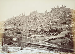 49. Narrow guage R.R. lumber dump, summit of Sierras.jpg