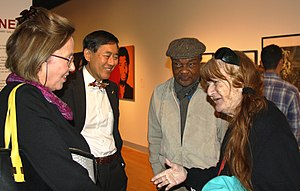 Wallace Loh - The University of Maryland, College Park Art Gallery celebrated its 50th anniversary on Feb. 24, 2016 with a memorable art exhibition. Among those attending were President Wallace Loh and his wife, Barbara, on the left; and Prof. David C. Driskell, along with Prof. Dagmar R. Henney, on the right. Photo courtesy University of Maryland Art Gallery, used with permission.