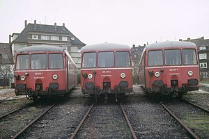 Three 515/815 railbuses at Betriebswerk Hildesheim
