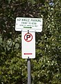 60° angle parking (R5-501) and No Parking (R5-40) signs on Fitzhardinge Street in Wagga Wagga.jpg