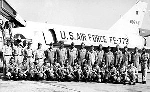 71st Fighter Training Squadron - Squadron personnel photo, about 1964. F-106 58-0773 in background