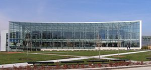 A. Alfred Taubman - The A. Alfred Taubman Student Services Center at Lawrence Technological University has an extensive glass facade and modern design. Picture taken in November 2006.