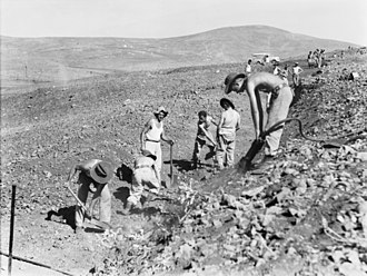 2/2nd Pioneer Battalion (Australia) - Pioneers from the 2/2nd digging-in, Syria, November 1941.