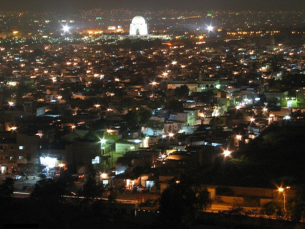 A Beautiful Night View Of Adnan Asim%27s Karachi City. Also Mazar-e-Quaid%E2%80%94 The Mausoleum Is Viewable In The Picture
