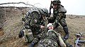 A Romanian soldier provides medical treatment to a simulated wounded fellow soldier during a mission rehearsal exercise at the Joint Multinational Readiness Center in Hohenfels, Germany, March 18, 2013 130318-A-RA799-002.jpg